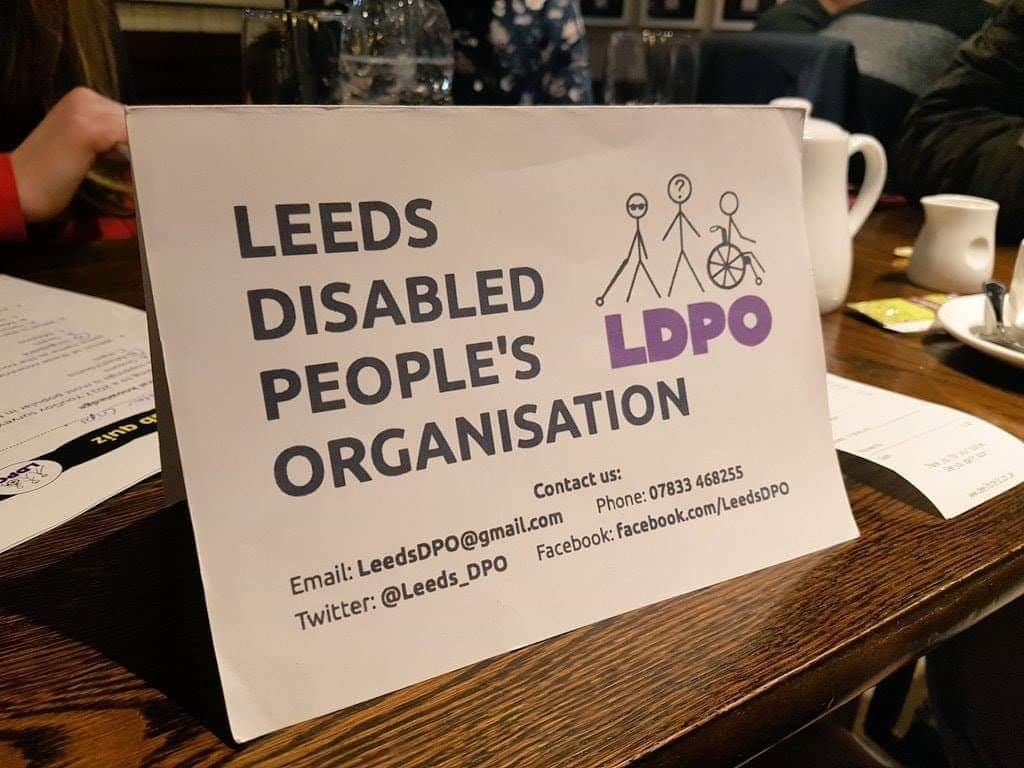 LDPO Placard on a table with contact details